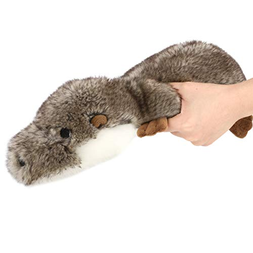 Pawaboo Squeak Plush Dog Toys, Super Soft Faux-Fur Stuffed Plush Otter-Shaped Pet Toys, Pet Rattle Dog Biting Training Playing Chew Toys Non-Toxic Plush Doll for Medium and Large Dogs, Gray/Brown