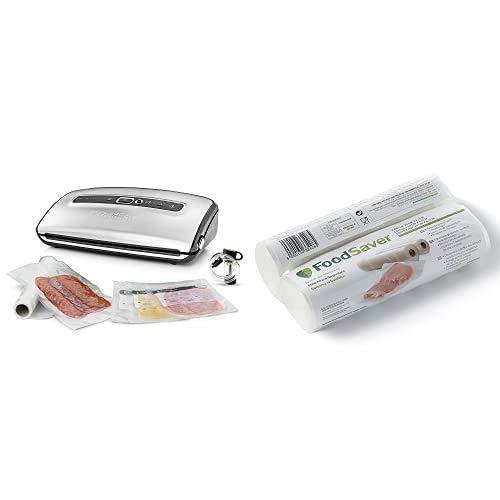 FoodSaver FFS016X Envasadoras al vacío con cutter incorporado + 2001 FSR2002-I envasado al vacío, 2 Rollos de 20 x 6.70 cm, 20 cm x 6.7 m