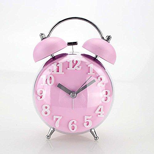 """Jinberry 3.5"""" (10 cm) Sveglia a Doppia Campana con Luce Notturna e Allarme Forte, Orologio Vintage Silenziosa Classica da Comodino / Tavolo Antica Analogica, senza Ticchettio - Rosa"""