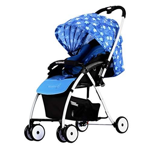 Haute Qualité Poussettes et Landaus Poussette pour bébé, lumière portative Ajustable bidirectionnelle auvent réglable dans Les Deux Sens avec Parapluie Bébé Landaus (Color : Star Blue)