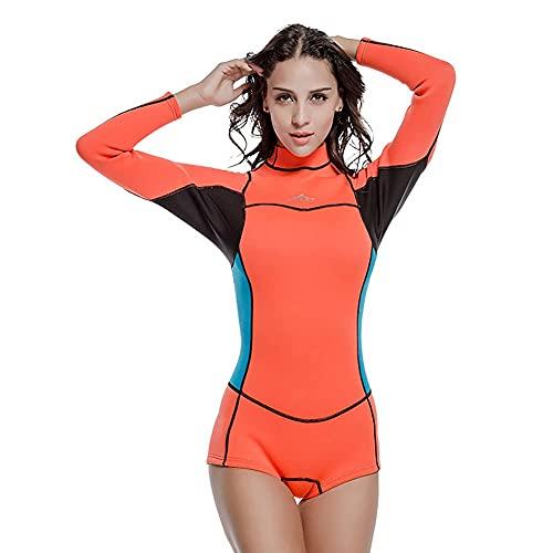 NZKW Traje de Neopreno Ultra elástico de 2 mm, Traje de Neopreno Completo de una Pieza con Cremallera en la Espalda para Mujeres, Snorkel, Buceo, natación, Surf