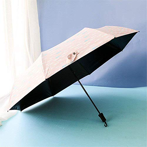 YNHNI Paraguas, paraguas de verano para mujer, paraguas de moda, paraguas plegables, paraguas al aire libre, portátil (color: rosa)