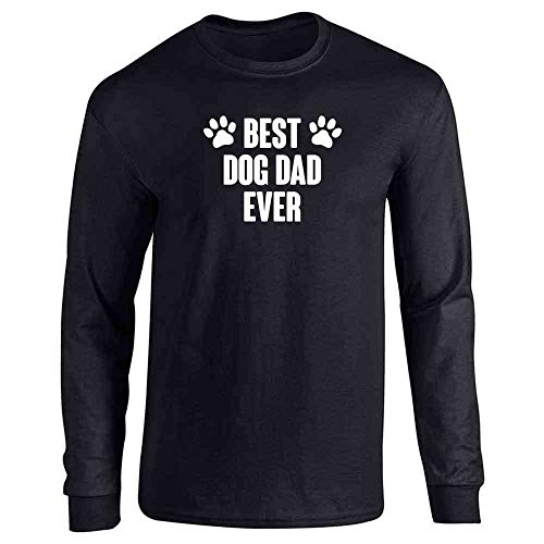 Pop Threads Best Dog Dad Ever Gift for Dad Black XL Full Long Sleeve Tee T-Shirt