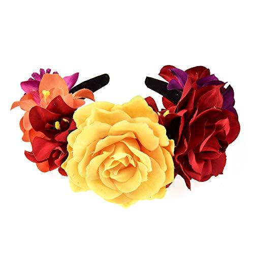Winslet Blumen Stirnband Hochzeit Haarkranz Krone - Frauen Mädchen Blumenkranz Haare für Hochzeit Party (Rot Rose)