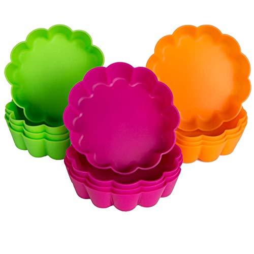 webake Paquet de 12 Moule à Tarte/Quiche en Silicone Plat a Tarte Anti-Adhésif Moulle Tartelettes pour la Partie 8x2.2cm / 3.14\
