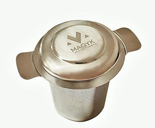 Premium quality stainless steel brew-in tea infuser & 2-in-1 lid/drip tray. MAGYK's rust resistant strainer & extra fine mesh filters your loose leaf tea perfectly. The best steeper & tea accessory!