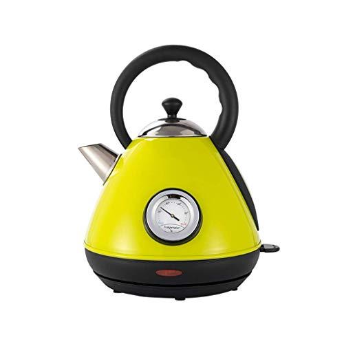 Hervidor eléctrico, indicador de temperatura retro de tetera, mango frío, apagado automático, hervir silencioso, acero inoxidable, 1,7 l, naranja, amarillo