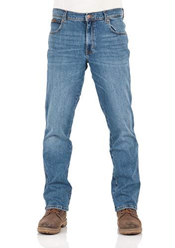 Wrangler Herren Jeans Texas Stretch Regular Fit Jeanshose Straight Denim Hose 99% Baumwolle Blau W30-W44, Größe:W 33 L 34, Farbauswahl:Blue Whirl (W121P311E)
