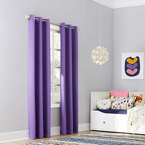 "Sun Zero Riley Kids Bedroom Blackout Grommet Curtain Panel, 40"" x 84"", Purple"