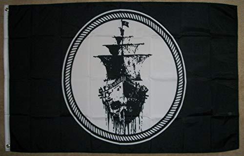 Zudrold 3 'x5' Bandera de Barco Pirata Fantasma Motín del Mar Negro Jolly Roger Calavera Espada Banner 3X5
