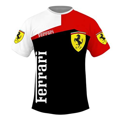 Maglia Manica Corta Girocollo Estiva da Uomo Maglietta Stampata Casual in 3D con Logo Ferrari Stampato Ad Asciugatura Rapida (1,L)
