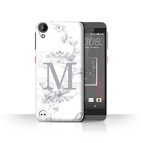 Stuff4® Personalisiert Weiß Marmor Mode Hülle für HTC Desire 630 / Gerahmt Silber Single Design/Initiale/Name/Text Schutzhülle/Case/Etui