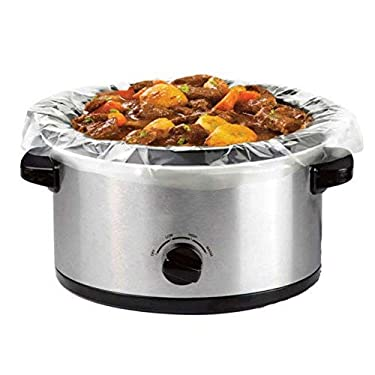 """30 Count Large Crock Pot & Slow Cooker Liners - 22""""x12"""" 3 to 7 Quart Easy Clean Up Plastic Bags for Crockpot, Aluminum Cooking Trays, Pans - Non-Stick & Oven/Microwave Safe - by HomeyGear"""
