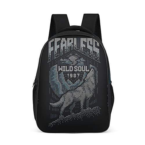 Girls and Boys School Bag Fearless Wild Soul 1987 Wolf Children's Backpacks Travel School Book Bag Chic Backpack Daypack with Laptop Compartment