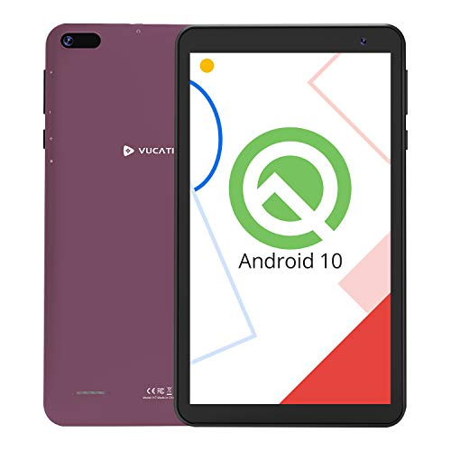 VUCATIMES N7 7-Inch Tablet, Android 10.0, WiFi, 16GB ROM, 1.8 GHz Quad-Core Processor, IPS HD Display, Bluetooth 4.2, Purple