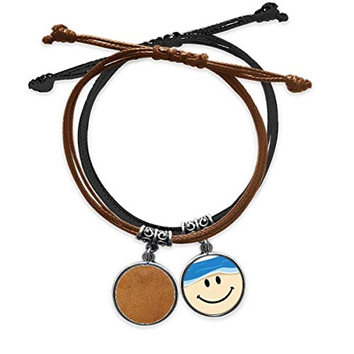 Bestchong Leather Abstract Design Bracelet Rope Hand Chain Leather Smiling Face Wristband
