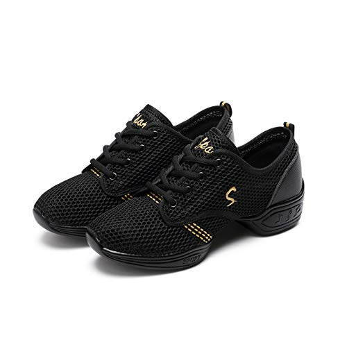 HAOLIN Scarpe da ballo da donna, con suola divisa, scarpe da ballo, comode scarpe da ginnastica alla moda, casual, colore nero, 39