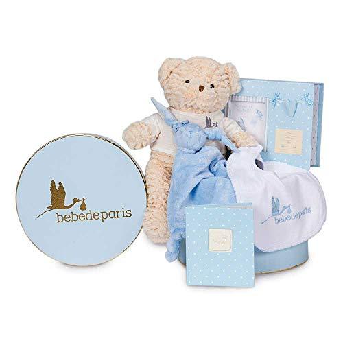 BebeDeParis   Regalos Originales para Bebés Recién Nacidos   Canastilla Bebé Recuerdos Esencial   Set de Huellas  3-6 Meses (Azul)