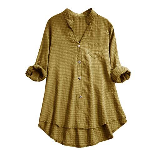 Andouy Damen Hemd Top Kariertes Langarm Leinen Plus Size Gr.38-46 Tunika Knopf Lose Bluse Übergroß(2XL(46),Gelb)