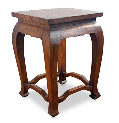 livasia Hoher, brauner Opiumtisch, asiatischer Beistelltisch, Thailändischer Altartisch, Nachttisch