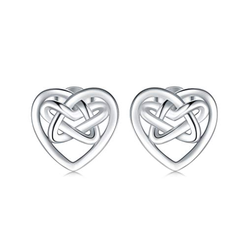 WINNICACA Sterling Silver Celtic Stud Earrings - Heart Jewelry Gifts Birthday -Mom gifts