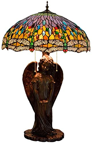 SpiceRack Accesorios para lámpara de Mesa, lámparas para dormitorioLámpara de Escritorio de Vidrio con libélula Amarilla, portalámparas de ángel para hoteles, Bares, restaurantes, Estudio, s