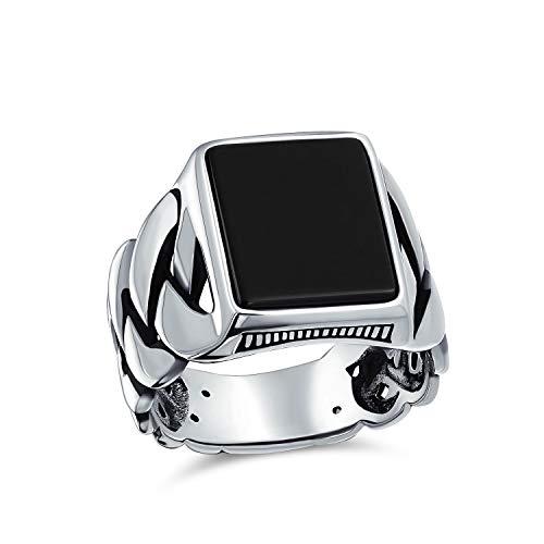 Trenzado cable de trigo eslabón banda negro ónix rectángulo signet anillo para los hombres 925 plata de ley hecha a mano en Turquía