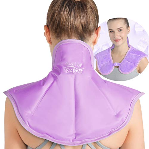 Relief Expert Large Neck Shoulder Ice Pack for Injuries Reusable Gel Cold Pack Wrap for Upper Back Pain Relief Cold Compress Therapy for Swelling, Bruises, Surgery - Soft Plush Lining