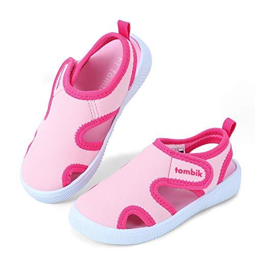 tombik Toddler Girls Water Shoes Kids Pool Swim Shoes Beach Aqua Sandals Pink/White 6 US Toddler