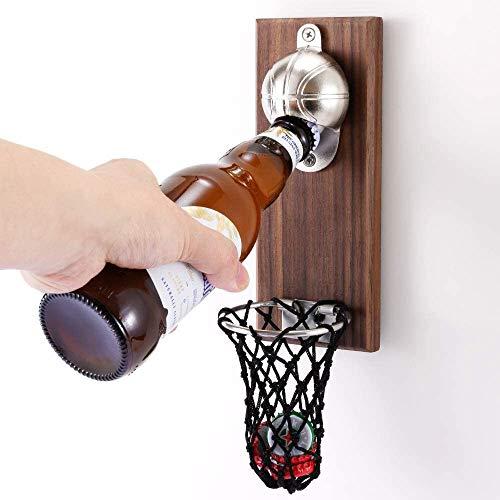 Abrebotellas magnético para refrigerador, abridor de botellas de baloncesto con colector de tapas, abrebotellas montado en la pared, accesorio de cocina, bar, suministros para fiestas, uso como decoración del hogar, bar, regalo ideal