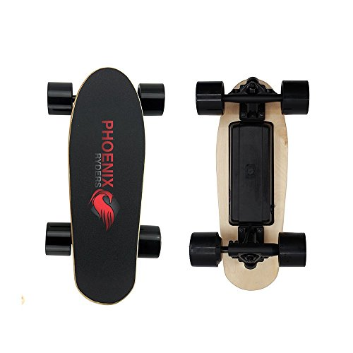 PHOENIX RYDERS Electric Skateboard Electronic Longboard 12.4 MPH Top Speed, 9.2 Miles Range,250 W Hub Motor and 2.2AH Lithium Battery with Remote