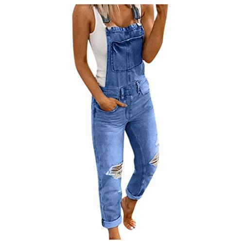 WUAI-Women Casual Stretch Jeans Jumpsuit Denim Ripped Distressed Skinny Denim Bib Overalls Rompers(Dark Blue,Medium)