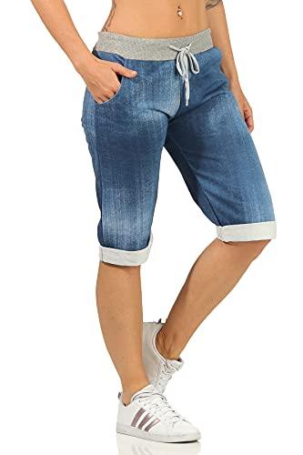 Damen Sommerhosen leichte Sweathose Caprihosen Jeans Optik Bermuda Hose Bequeme Damenshorts Jogpants (38-40, Dunkelblau, Numeric_38)