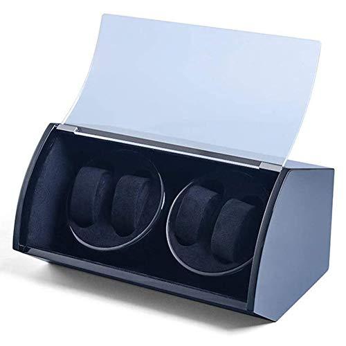 VIY Watch Winder 4 Orologi, Scatola Carica Orologo Automatico in Pelle PU Nero con Motore Silenzioso, Scatola del Tempo Porta Orologi, Alimentato a Batteria o da Rete
