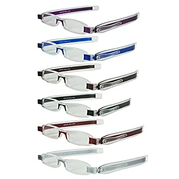6 Folding Pocket Reading Glasses in Pen Clip Case - Lightweight Portable and Compact Rotating Frames - Includes 6 Colors for Men and Women - +250 - By Optix 55