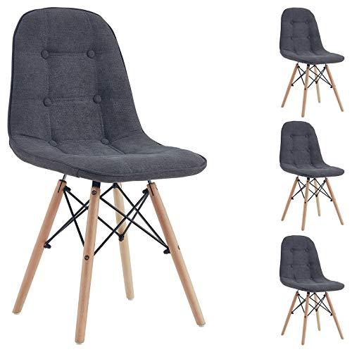 IDIMEX Esszimerstuhl Cesar Design Retro, Stuhl Polsterstuhl Küchenstuhl Essstuhl, im 4er Set Stoffbezug in grau