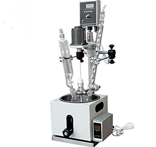 Reactor de agitador químico de vidrio de 1 l para mezclar y destilar con agua SUS304, aceite y termo de condensador