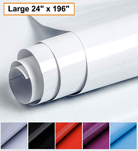 Oxdigi White Contact Paper Decorative 24 x 196 inches for Countertops Cabinets Kitchen Shelves Liner Gloss Glitter Self Adhesive Film Peel and Stick Waterproof Removable Wallpaper