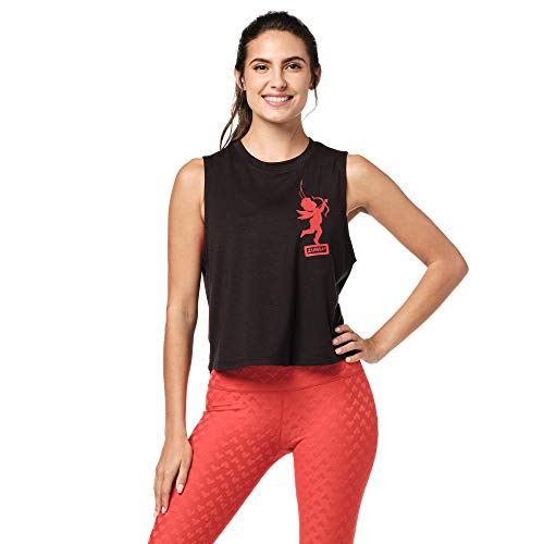 Zumba Fitness Active Loose Muscle Top Sexy Activewear Camisetas Tirantes Mujer de Entrenamiento Blusas, Love Black, X-Large