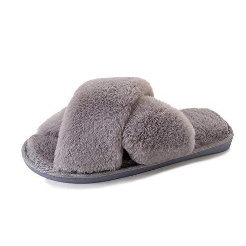 Joy & Lemon Women's Indoor Slippers Open Toe House Shoes Faux Fur Bedroom Slippers Spa Slides Slippers Outdoor Sandals (8.5-9.5 B(M) US, Grey)