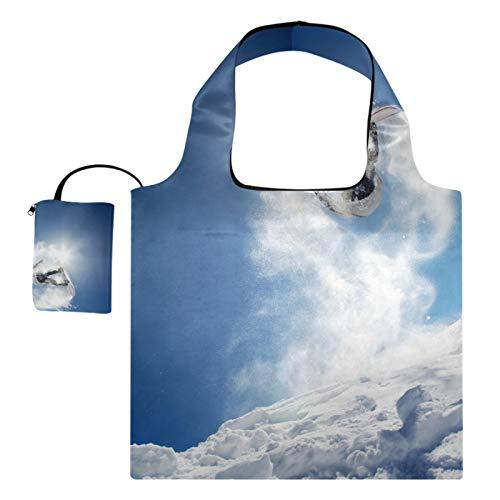 XiangHeFu Wiederverwendbare Lebensmittelgeschenkbeutel Einkaufstaschen Große Kapazität faltbar, Snowboarder startet vom Sprung