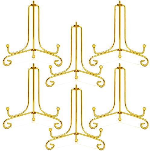 Sonku 6 Stück Präsentationsständer, 10,2 cm, goldenes Eisen, Foto-Halter, Ständer, dekorative Teller, Display-Bilderrahmen, Kunstwerke