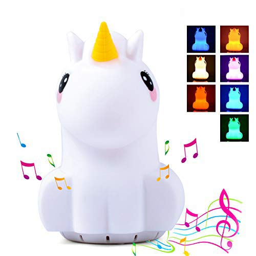 Kids Night Light with Bluetooth Speaker, LED Cute Unicorn Nightlight, Portable Rechargeable Multi-Color Changing Muscial Table Lamp, Safety ABS Silicone Material for Baby Girls Christmas Gift Toys