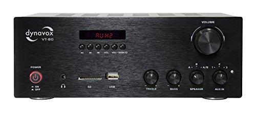 Dynavox Stereo Kompakt-Verstärker VT-80 schwarz, schraubbare Anschluss-Terminals für 4 Lautsprecher, Fernbedienung für Digital-Eingänge (USB, SD-Card), integrierte BT-Antenne