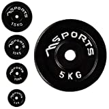 MSPORTS Hantelscheiben Paar Professional aus 100% Gusseisen 5-30 kg Hantel (2 x 5 kg - Schwarz)