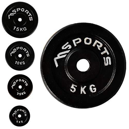 Juego de 2 discos para mancuernas, agujero diámetro 51 mm, Calidad de gimnasio, hierro fundido, revestimiento de goma, 5-20 kg, Pesas