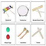 Ulifeme Instrument de Musique pour Enfant, 24 Pièces Instruments de Musique en Bois Percussion pour Bébé avec Xylophone, Tambourin, Triangle et Autre Instrument Jouets dans Un Sac de Transport