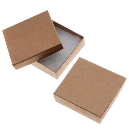 Beadaholique Kraft Brown Square Cardboard Jewelry Boxes 3.5 x 3.5 x 1 Inches (100)