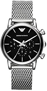 Emporio Armani Men's Black Dial Stainless Steel Band Watch - AR8032