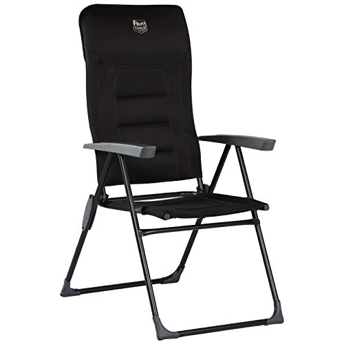 Timber Ridge Folding Garden Chair High Back Aluminium 7-Position Adjustable with Armrests Headrest Outdoor&Indoors Padded black